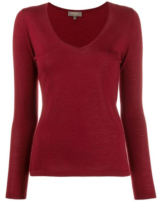 N.Peal Cashmere Red V-neck Sweater