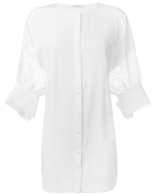 Givenchy - White Floral Lace Detail Lose Tunic - Lyst