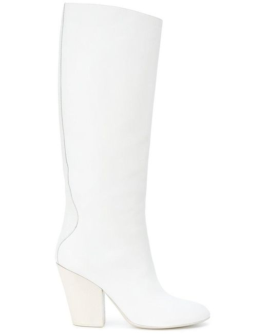 A.F.Vandevorst - White Contrast Panel Knee Boots - Lyst