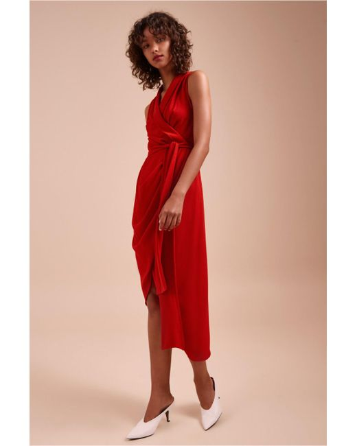 Lyst - C/Meo Collective Entice Short Sleeve Midi Dress in Red