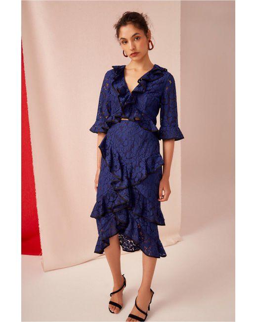 Keepsake - Blue Encore Lace Skirt - Lyst
