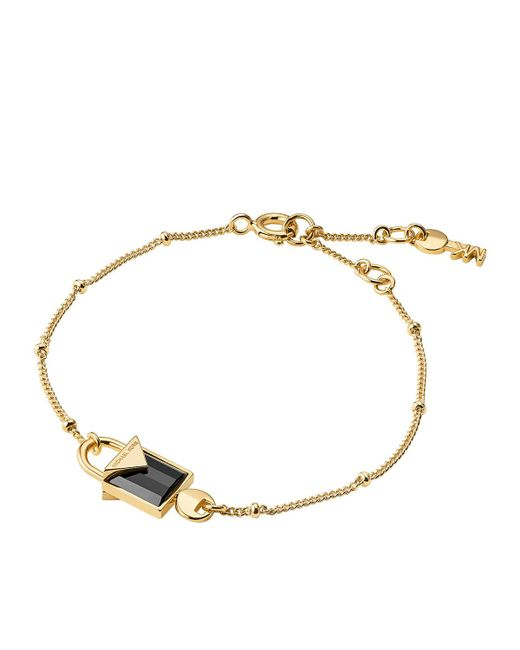 Michael Kors - Metallic Black Onyx And Sterling Silver Mercer Padlock Bracelet - Lyst
