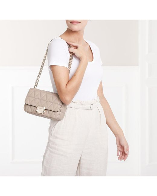 7ce957e88f86eb ... Michael Kors - Natural Sloan Sm Chain Shoulder Bag Truffle - Lyst ...