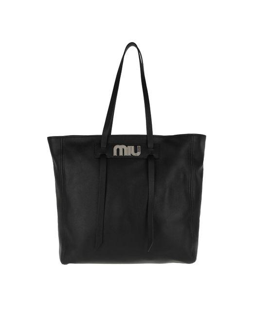 Miu Miu Logo Plaque Shopper Tote in Black - Save 49% - Lyst cadd6aa51e