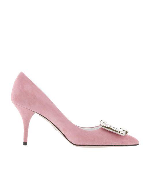 Pumps - Crystal Buckle Pumps Calf Leather Loto - rose - Pumps for ladies Prada xhq644Q