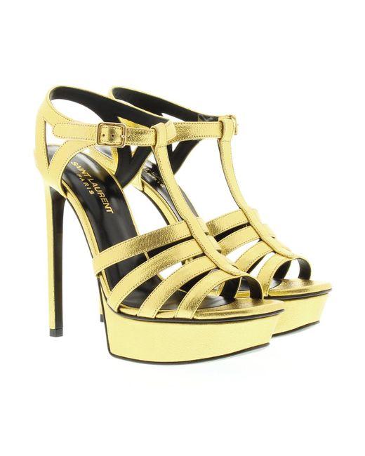 Saint Laurent | Metallic Bianca Leather Sandal Gold | Lyst