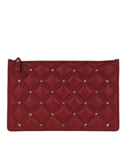 3a777352f18 Valentino - Red Clutch Spike Nappa Leather Rosso - Lyst ...