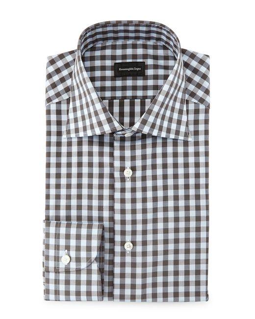 ermenegildo zegna large gingham woven dress shirt in blue
