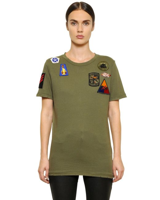 Mr mrs italy embroidered patches cotton t shirt in green