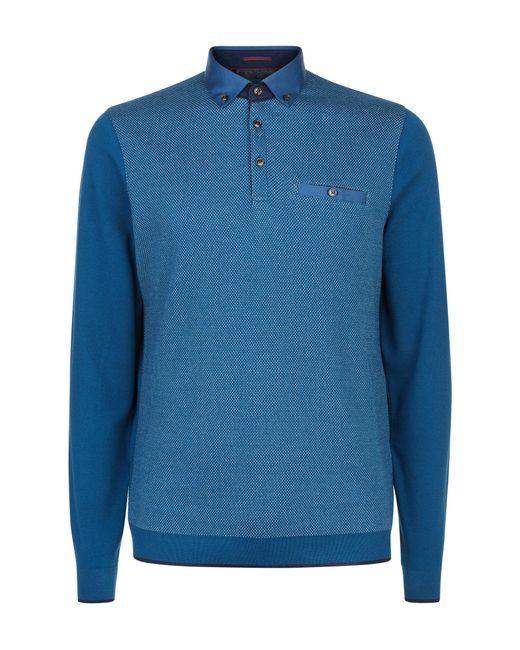 Ted Baker | Blue Hamnet Birdseye Front Polo Shirt for Men | Lyst