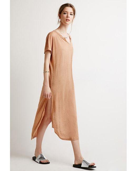 Forever 21 | Brown Slub Knit High-slit Dress | Lyst