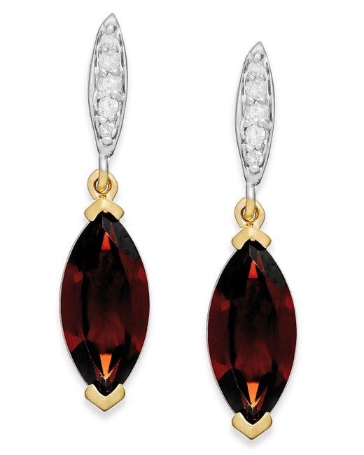 Macy's   Metallic Garnet (2-3/4 Ct. T.w.) And Diamond Accent Drop Earrings In 14k Gold   Lyst
