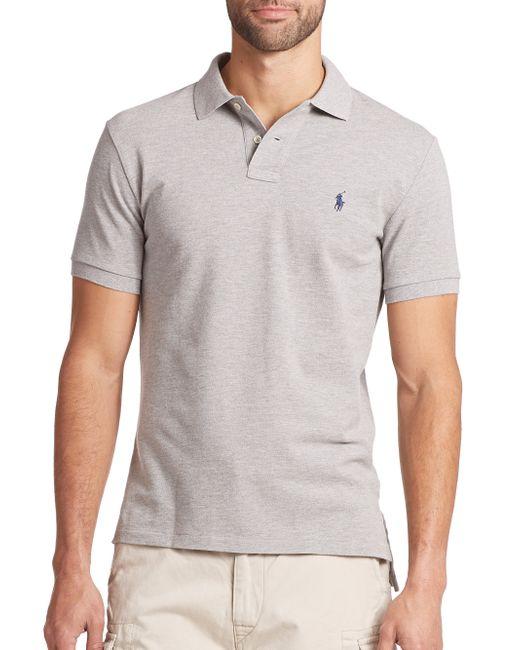 Polo Ralph Lauren | Gray Custom-fit Mesh Polo for Men | Lyst