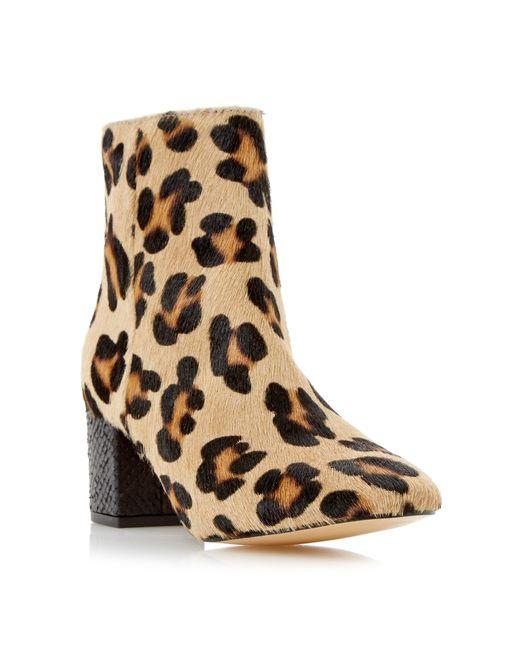 dune pebble block heel ankle boots in animal leopard