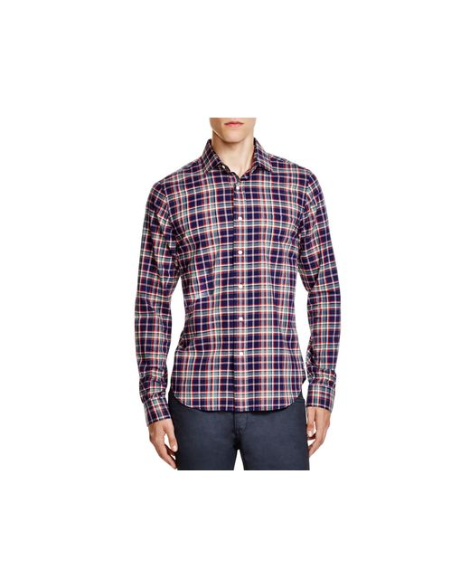 Gant rugger red brushed plaid flannel slim fit button for Women s slim fit flannel shirt