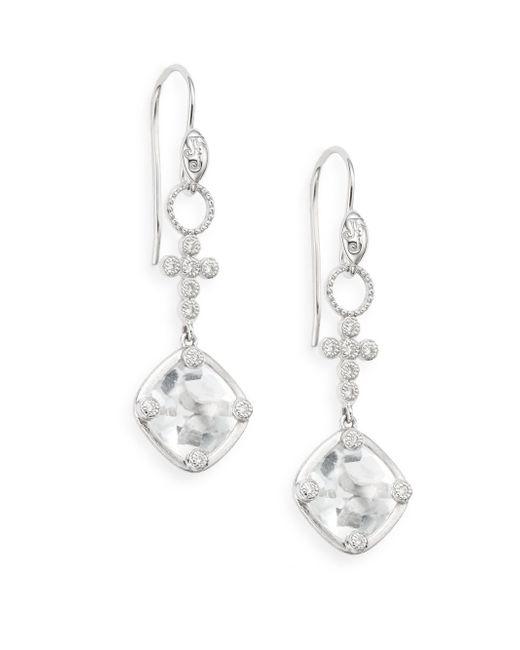 Jude Frances | White Topaz, Diamond & 18k White Gold Drop Earrings | Lyst