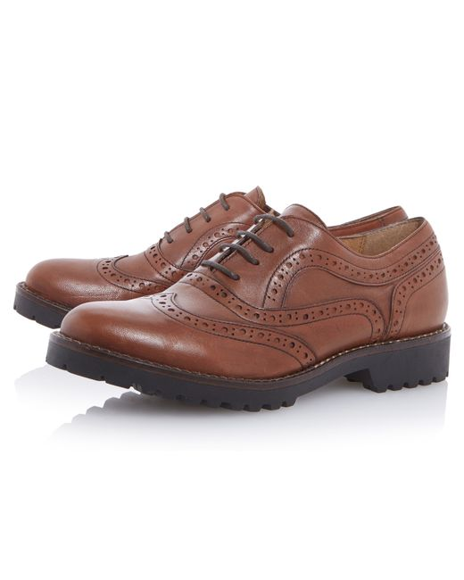 Dune Black | Brown Fawne Lace Up Leather Brogues | Lyst