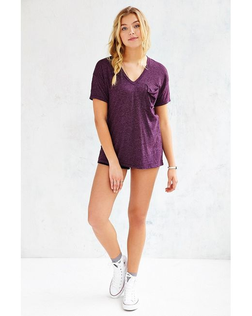 Truly Madly Deeply | Purple V-neck Slouch Pocket Tee | Lyst