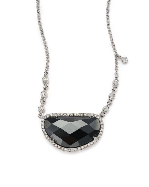 Meira T | Black Hematite, Diamond & 14k White Gold Pendant Necklace | Lyst