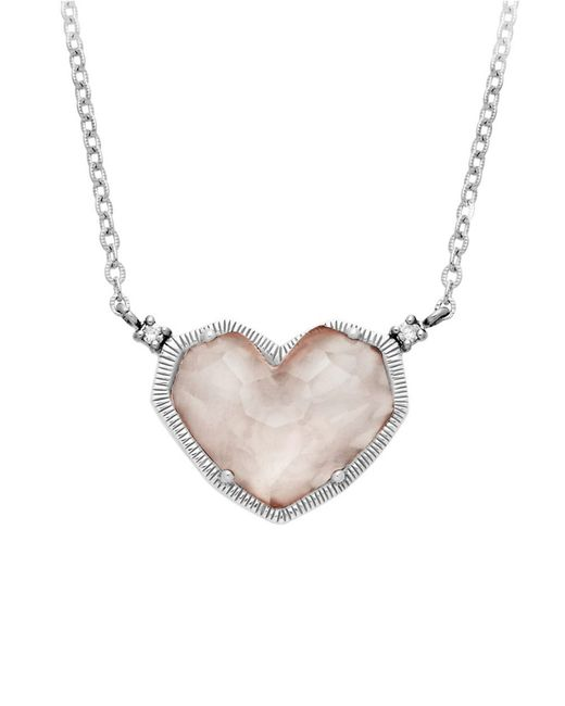 Lord & Taylor | Metallic Sterling Silver And Rose Quartz Heart Necklace | Lyst