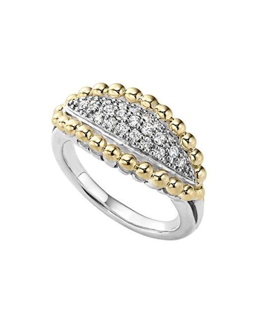 Lagos | Metallic 'caviar' Diamond Marquise Ring | Lyst