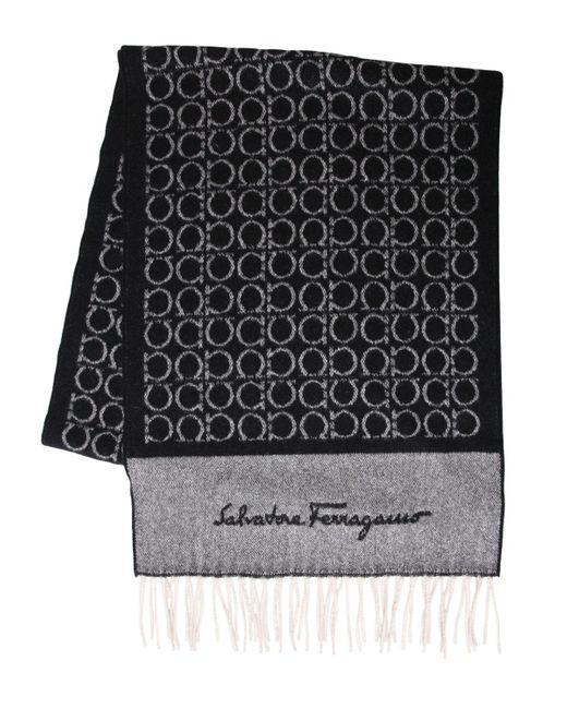Ferragamo | Black Gancini Logo Cashmere Jacquard Scarf | Lyst
