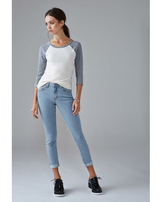 Forever 21 | Blue Mid-rise Skinny Ankle Jeans | Lyst