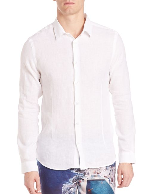 Orlebar Brown Solid Button Down Shirt In White For Men Lyst