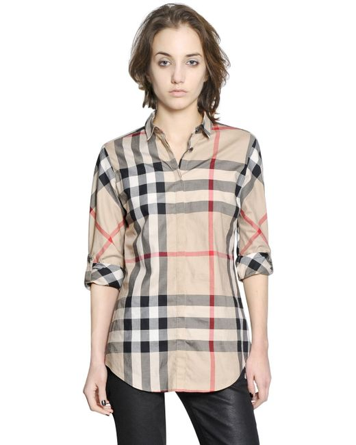 Burberry brit plaid shirt in beige nude neutrals lyst for Burberry brit plaid shirt