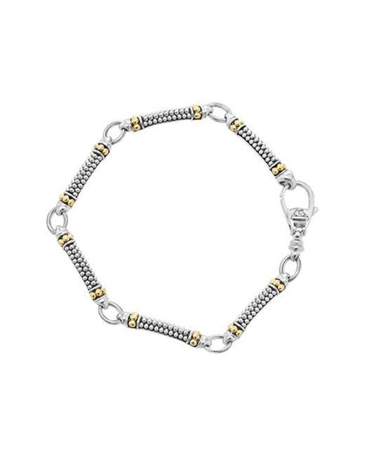 Lagos | Metallic Silver & 18K Gold Caviar Fluted Link Bracelet | Lyst