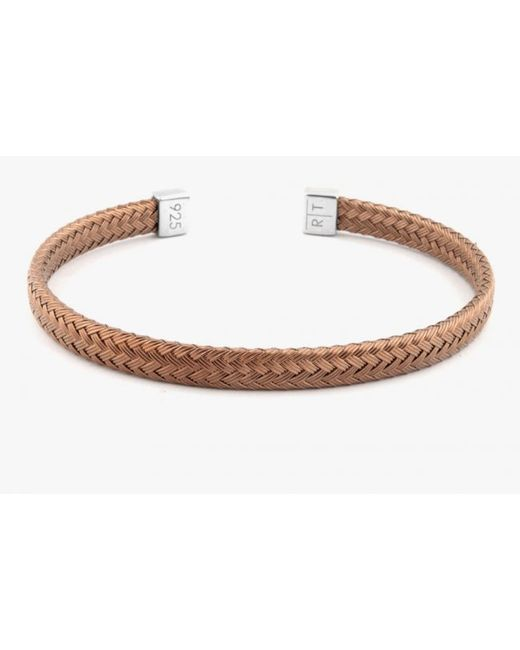 Tateossian   Slim Intrecciato Bracelet In Tightly Weaved Brown Ruthenium Plated Silver With Silver Casp for Men   Lyst