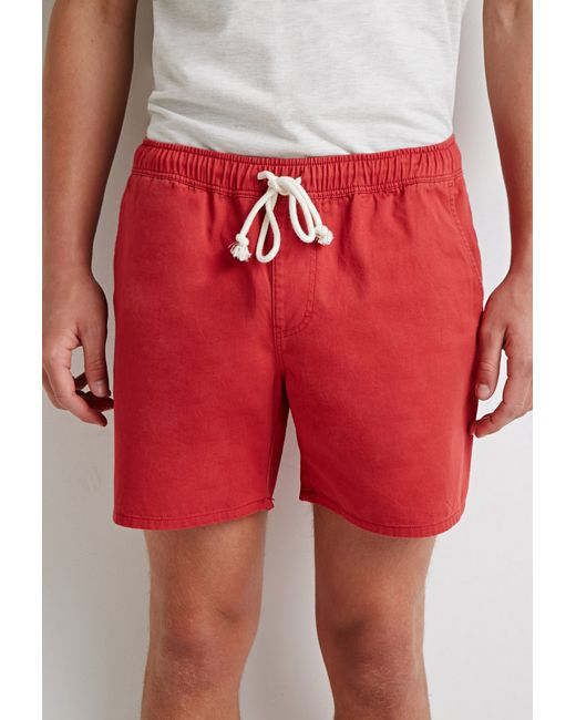 Forever 21 | Red Elasticized Chino Shorts for Men | Lyst