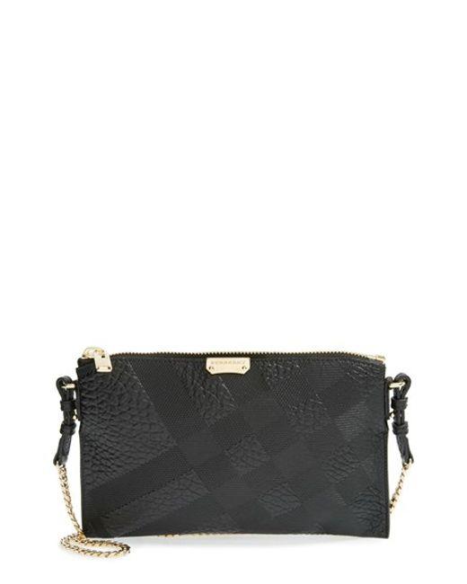 Burberry | Black 'peyton - Grain Check' Embossed Leather Crossbody Bag | Lyst