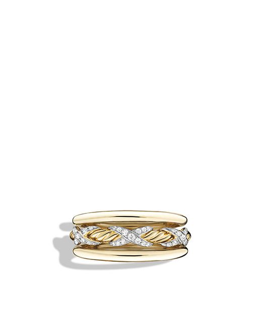 David Yurman | Ring With Diamonds In 18k Yellow Gold | Lyst