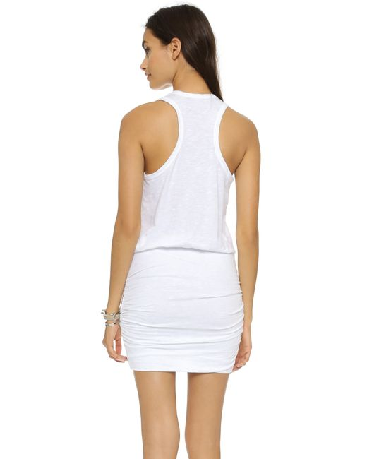 Sundry | White Ruched Dress | Lyst