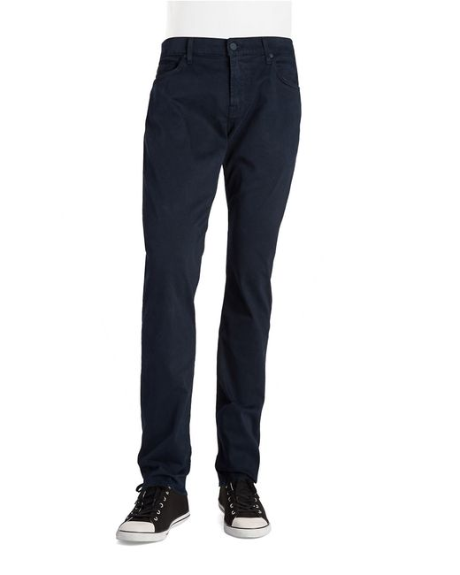 7 For All Mankind | Blue Straight-leg Cotton Blend Pants for Men | Lyst