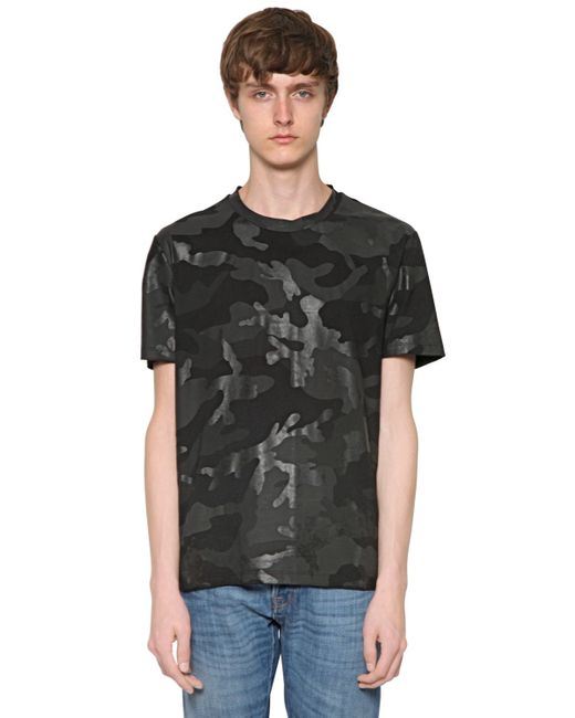 Valentino Rubberized Camo Cotton Jersey T Shirt In Black