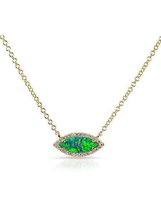 Anne Sisteron - Metallic 14kt Rose Gold Opal Diamond Mini Marquis Necklace - Lyst