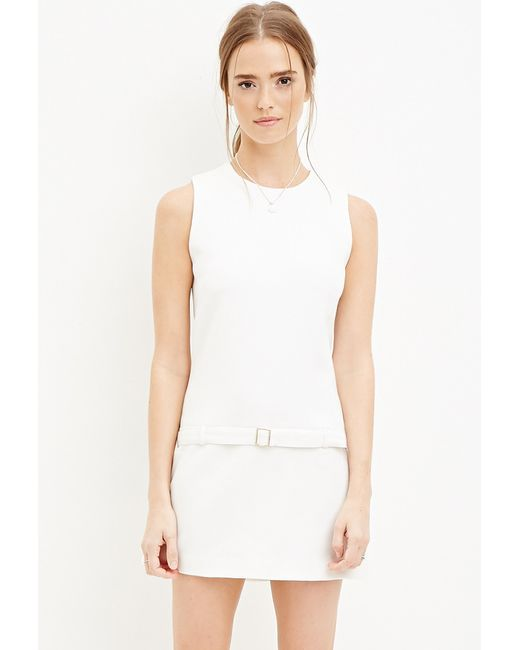 Forever 21 | Natural Belted Drop-waist Dress | Lyst