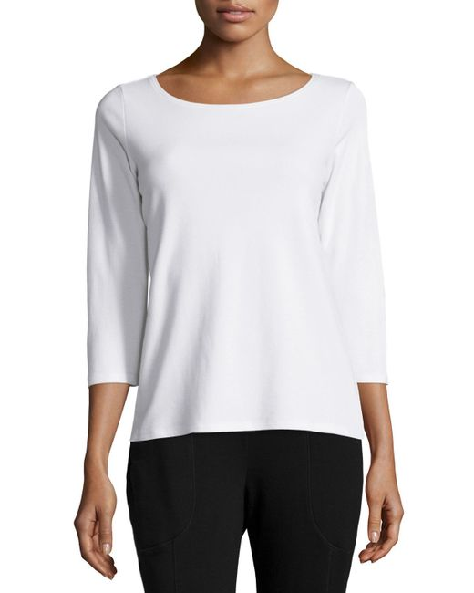 Eileen fisher 3 4 sleeve cotton tee in white lyst for Eileen fisher organic cotton t shirt
