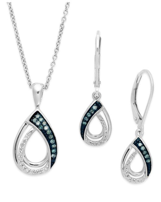 Macy's | Blue And White Diamond Jewelry Set In Sterling Silver (1/4 Ct. T.w.) | Lyst