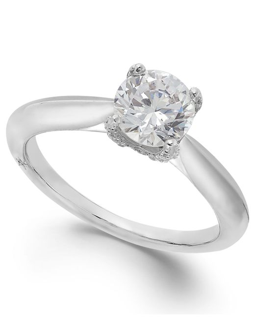 Marchesa | Classic By Certified Diamond Solitaire Engagement Ring In 18k White Gold (1 Ct. T.w.) | Lyst