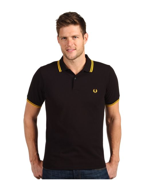 fred perry slim fit twin tipped polo in black for men lyst. Black Bedroom Furniture Sets. Home Design Ideas