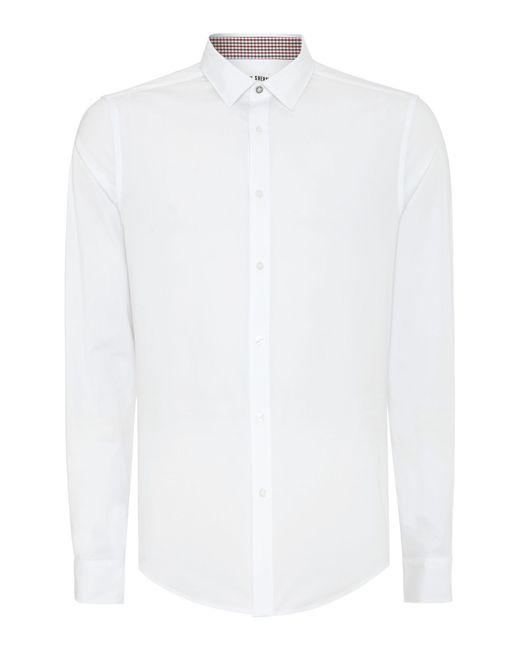 Ben Sherman | White Stretch Poplin Long Sleeve Shirt for Men | Lyst