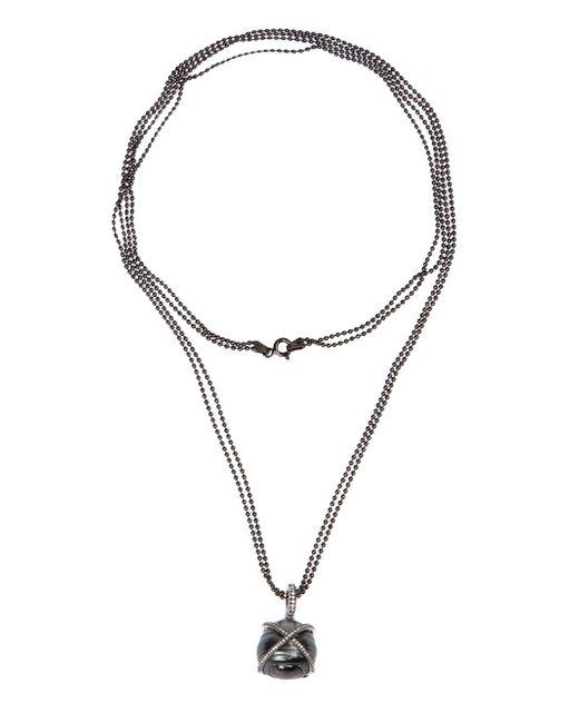 Samira 13   Black Pearl And Diamond Pendant Necklace   Lyst