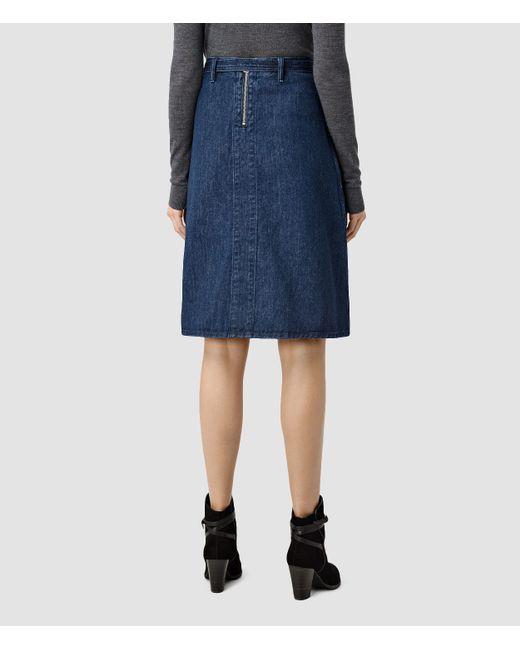 allsaints stilla denim a line skirt in blue blue lyst