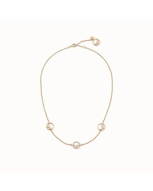 Fendi - Metallic Short Logo Charm Necklace - Lyst
