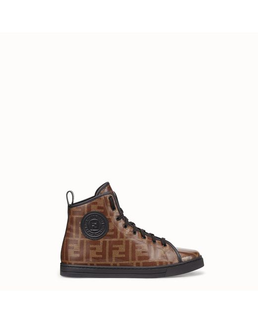 Fendi - Brown Monogram Hi-top Sneakers - Lyst
