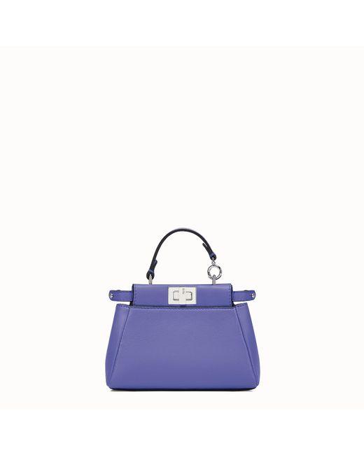 9cf3b56335 Lyst - Fendi Micro Peekaboo Nappa Leather Bag in Purple - Save 30%