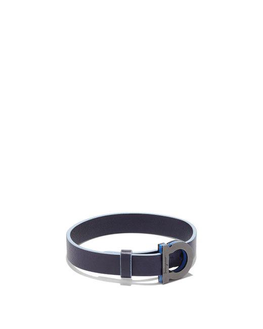 Ferragamo - Blue Leather Bracelet With Gancini Closure for Men - Lyst